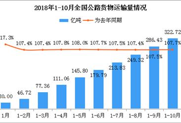 2018年1-10月全国公路货物运输量322.72亿吨:为去年同期107.7%