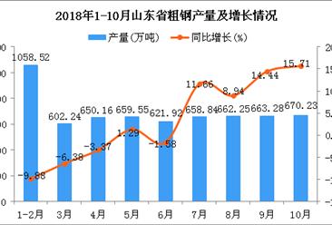 2018年1-10月山东省粗钢产量同比增长1.9%