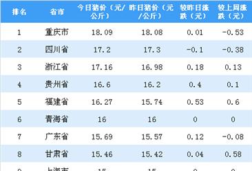 2018年11月26日全国各省市生猪价格排行榜:猪价震荡偏弱调整