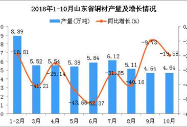 2018年1-10月山东省铜材产量为51.68万吨 同比下降33.73%