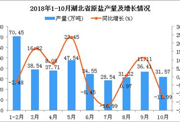2018年1-10月湖北省原盐产量为356.63万吨 同比增长1.78%