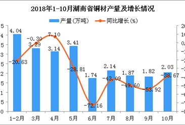 2018年1-10月湖南省铜材产量为23.48万吨 同比下降37.45%