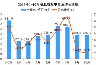 2018年1-10月湖北省发电量及增长情况分析