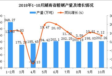 2018年1-10月湖南省粗钢产量及增长情况分析:同比增长12.83%