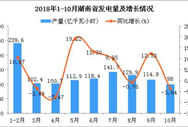 2018年1-10月湖南省发电量为1158.4亿千瓦小时 同比增长7.34%