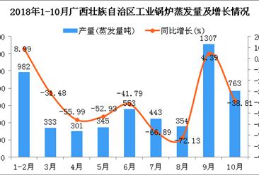 2018年1-10月广西壮族自治区工业锅炉蒸发量及增长情况分析