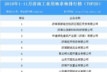 产业地产情报:2018年1-11月济南市工业用地拿地排行榜(TOP20)