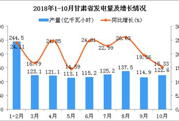 2018年1-10月甘肃省发电量为1217.2亿千瓦小时 同比增长21.27%