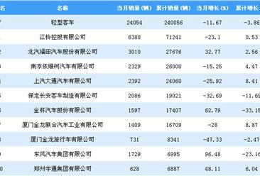 2018年1-10月轻型客车企业销量排行榜TOP20