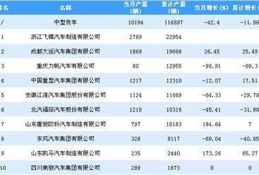 2018年1-10月中型货车企业产量排行榜TOP20