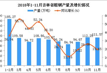 2018年1-11月吉林省粗钢产量同比增长45.23%