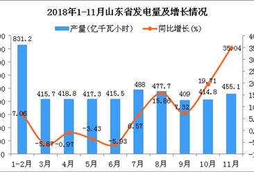 2018年1-11月山东省发电量同比增长6.6%