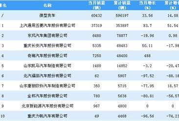 2018年1-11月微型货车企业销量排行榜TOP10