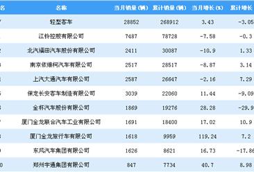 2018年1-11月轻型客车企业销量排行榜TOP20