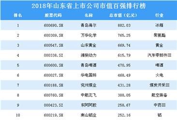 2018年山东省上市公司市值百强排行榜