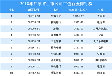 2018年广东省上市公司市值百强排行榜