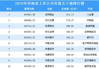 2018年河南省上市公司市值五十强排行榜