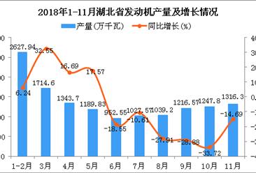 2018年1-11月湖北省发动机产量为13676.06万千瓦 同比下降7.76%