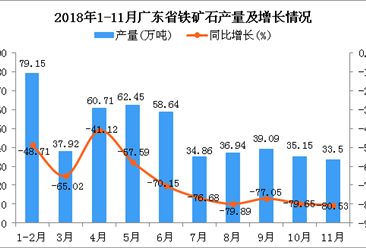 2018年1-11月广东省铁矿石产量为478.41万吨 同比下降69.29%