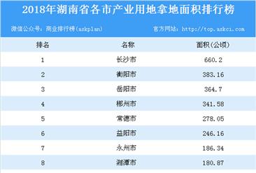 产业用地情报:2018年湖南省各市产业用地拿地面积排行榜