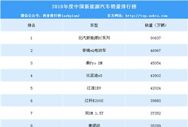 2018年度中国新能源汽车销量排行榜