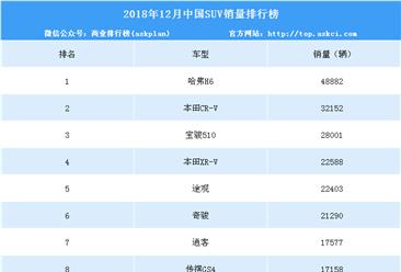 2018年12月中国SUV销量排行榜(附年度排名)