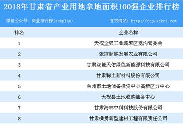 产业用地情报:2018年甘肃省产业用地拿地面积100强企业排行榜
