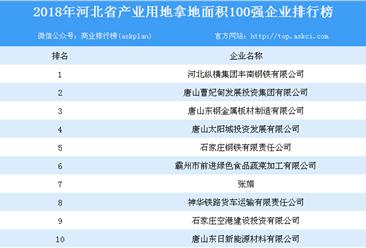 产业用地情报:2018年河北省产业用地拿地面积100强企业排行榜
