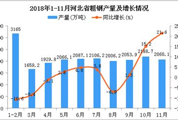 2018年11月河北省粗钢产量为2060.1万吨 同比增长21.6%