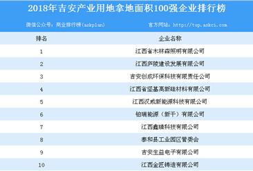 产业用地情报:2018年江西吉安市产业用地拿地面积100强企业排行榜