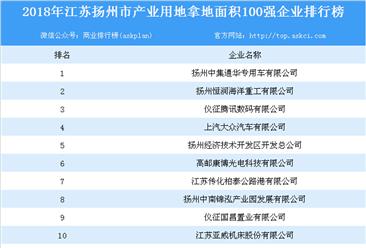 产业用地情报:2018年江苏省扬州市产业用地拿地面积百强企业排行榜