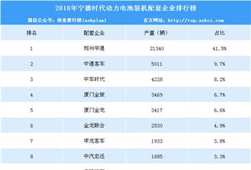 2018年宁德时代配套企业动力电池装机量排行榜