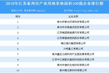 产业用地情报:2018年江苏省泰州市产业用地拿地面积100强企业排行榜