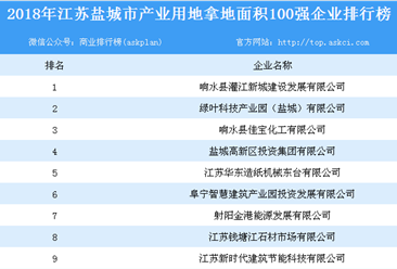 产业用地情报:2018年江苏省盐城市产业用地拿地面积百强企业排行榜
