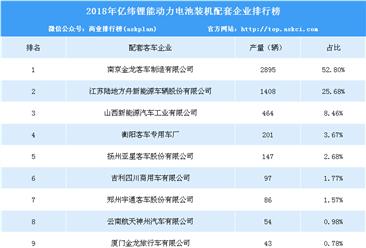 2018年亿纬锂能配套企业动力电池装机量排行榜