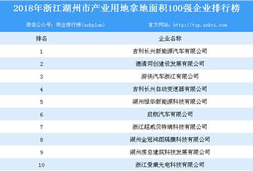 产业地产情报:2018年浙江省湖州市产业用地拿地面积100强企业排行榜