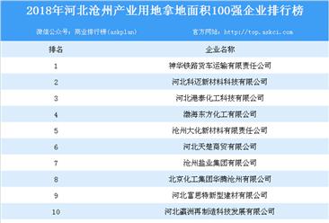 产业地产情报:2018年河北沧州市产业用地拿地面积100强企业排行榜