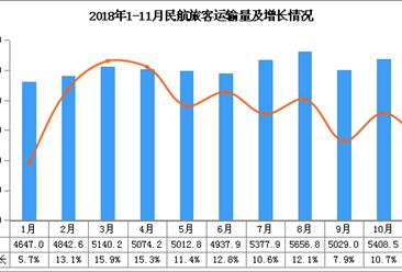 2018年1-11月民航旅客运输量5.61亿人:同比增长11.2%
