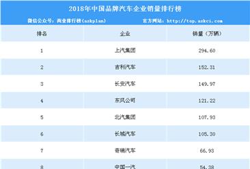 2018年中国品牌汽车企业销量排行榜(TOP10)