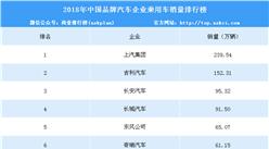 2018年中国品牌汽车企业乘用车销量排行榜
