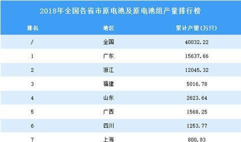 2018年全国各省市原电池及原电池组产量排行榜TOP10