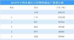 2018年中国各地区日用塑料制品产量排行榜