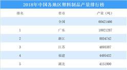 2018年中国各地区塑料制品产量排行榜