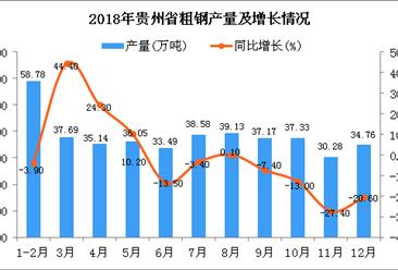 2018年贵州省粗钢产量及增长情况分析(图)
