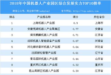 2018年中国机器人产业园区综合发展实力TOP10榜单出炉:上海机器人产业园实力最强(附榜单)