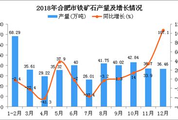 2018年合肥市铁矿石产量为432.22万吨 同比下降1.5%