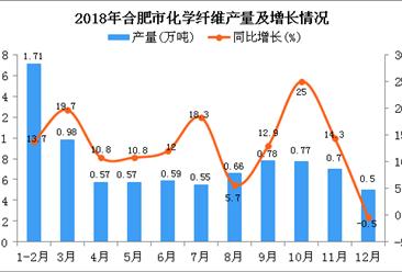 2018年合肥市化学纤维产量为8.38万吨 同比增长13.5%