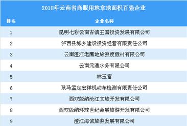 商业地产招商情报:2018年云南省商服用地拿地面积百强企业排行榜