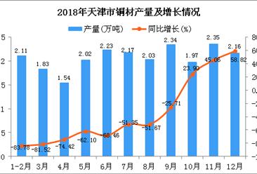 2018年天津市铜材产量同比下降60.58%