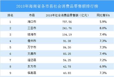 2018年海南省各市县(区)社会消费品零售总额排行榜:三亚增速最快